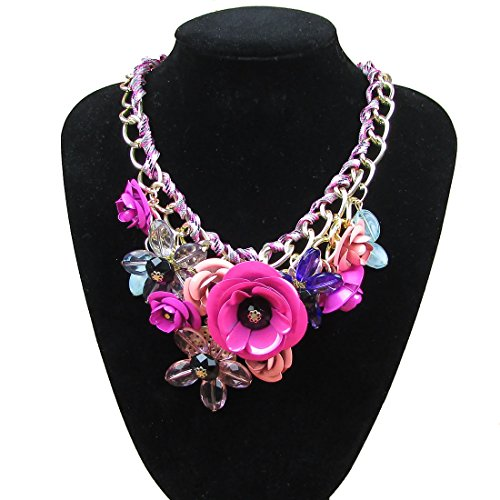 Crystal Flower Statement Necklace Fashion