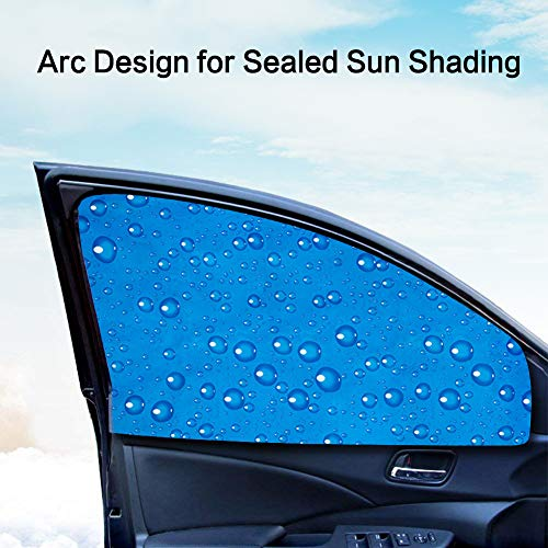 LIFONDER Easy to Install or Remove Universal Strong Magnetic Cars Suv 2 Pcs/Set Car Front Side Window Shades UV Sunshade Drape for Baby/Kids / Pets