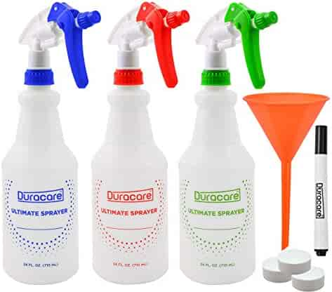 Duracare Plastic Spray Bottles with Adjustable Nozzle, for All Purpose Cleaning Solutions (24oz) - Household and Commercial Use Includes 3 Trigger Spray Bottles, Funnel, Marker and Caps