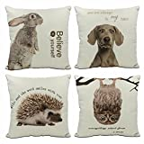 KACOPOL Adorable Animals rabbit dog hedgehog owl & Inspirational Quote Throw Pillow Covers Cotton Linen Nursery Home Decor Pillow Case Cushion Cover for Kids 18x18 Inches Set of 4 (Cute Animal-4 Pack)