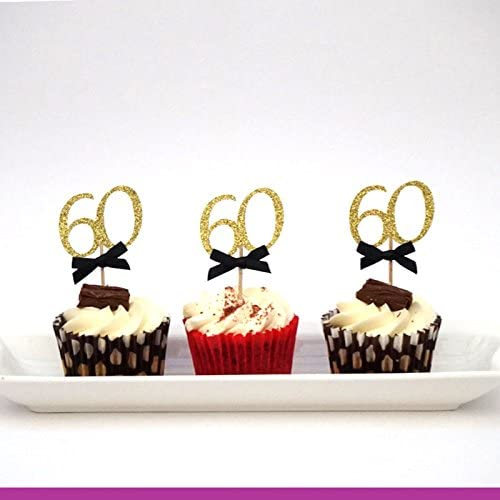 Pleasing Lissielou 60Th Birthday Cupcake Toppers With Bows Glittery Gold Funny Birthday Cards Online Bapapcheapnameinfo