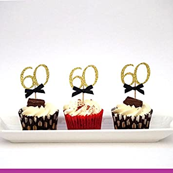 LissieLou 60th Birthday Cupcake Toppers With Bows