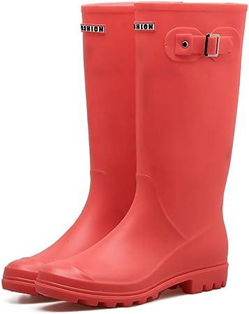 Botas de Lluvia para Dama/para Mujer Botas de Lluvia Wellingtons hasta la Rodilla Planas Impermeables Botas de Lluvia de Goma Altas Zapatos de jardín al Aire Libre,Red-EU37: Amazon.es: Hogar
