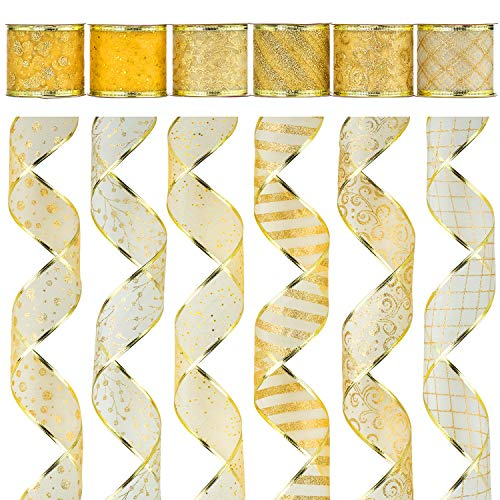 Alonsoo Wired Christmas Ribbon, Assorted Swirl Sheer Organza Glitter Christmas Design Decorations Crafts Gift Wrapping Ribbons, 36 Yards (6 Roll x 6 yd) by 2.5 inch, Gold