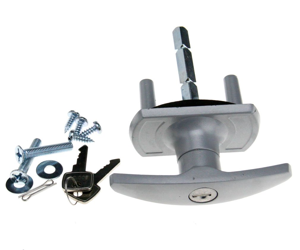 T Black Garage Door Lock 75mm Shaft 35mm Fixing Spigots For CARDALE HENDERSON by Micro Trader