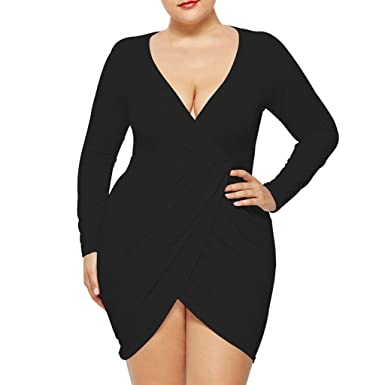 Xiaojmake Womens Plus Size Deep V Neck Bodycon Wrap Dress with Front ...