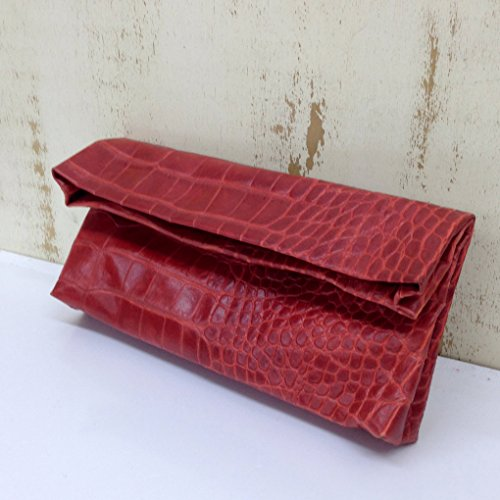 Foldover red Leather Clutch Handbag purse Crocodile Shoulder handbag Printed croco skin by Leather Bags and Accessories Handmade by Limor Galili