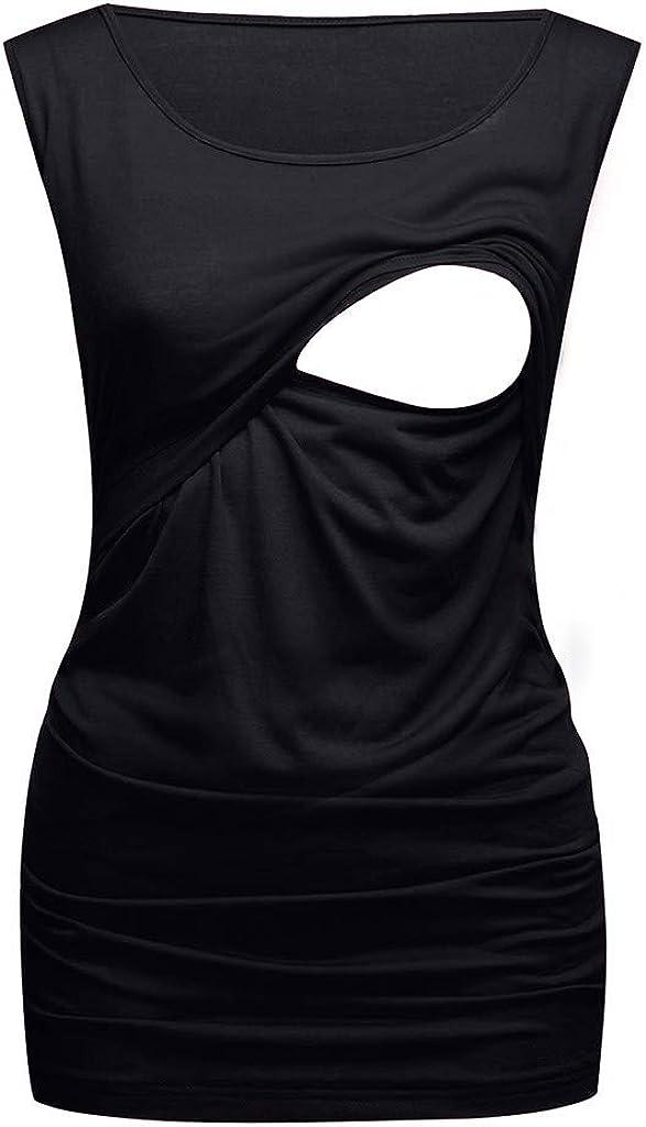 WHSHINE Damen Umstands Sommer T-Shirt Stilltop Mode Einfarbig Tank Top Unterhemd Weste Oberteile Schwangerschaft Umstandsmode Sleeveless Umstandshirt