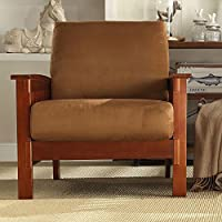 Affordable TRIBECCA HOME Hills Mission-Style Oak and Rust Microfiber Accent Chair Kitchen Furniture Brown
