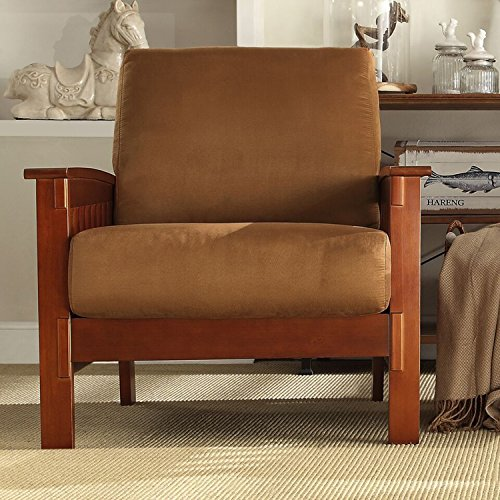 Affordable TRIBECCA HOME Hills Mission-Style Oak and Rust Microfiber Accent Chair Kitchen Furniture - Chair Ottoman Mission