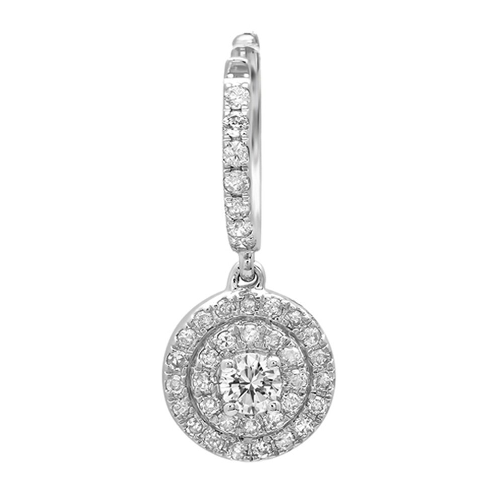 0.35 Carat (ctw) 14K White Gold Round White Diamond Ladies Halo Style Dangling Earrings
