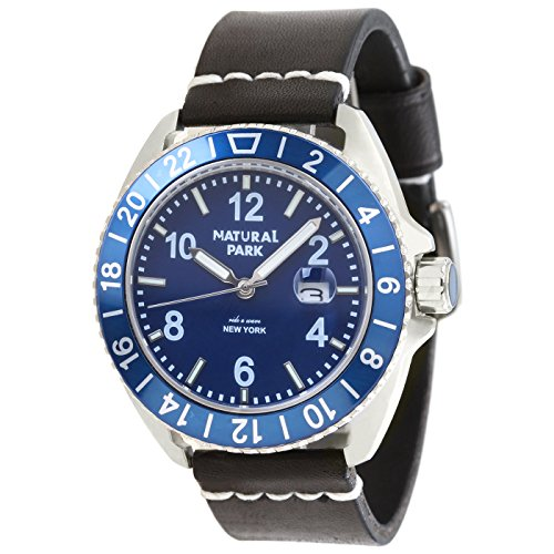 promotion Mens Unique Wrist Casual Watch with Blue Dial Luminated Hand Black Leather Strap