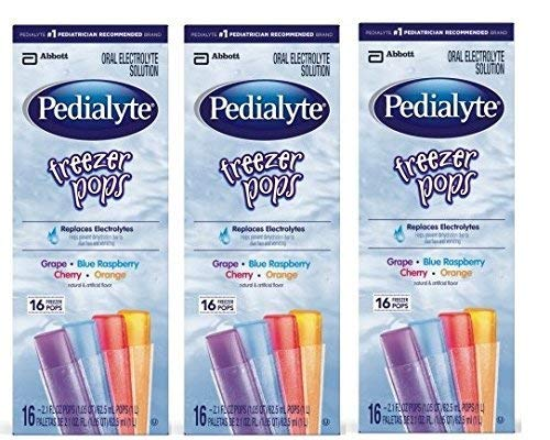 Pedialyte Freezer Pops - Assorted Flavors - 2.1 Ounce - 16 ct (Pack of 3)