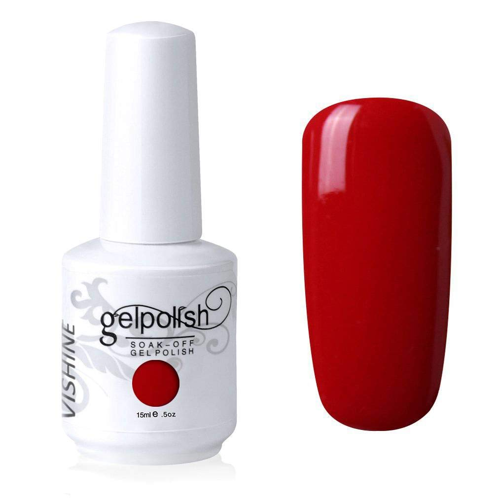 Vishine Gelpolish Lacquer Shiny Color Soak Off UV LED Gel Nail Polish Professional Manicure Bright Red(1535)