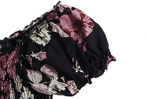 Plage Bewish Femmes D'été Imprimé Floral Partie De Robe Manches Courtes Épaule Rose