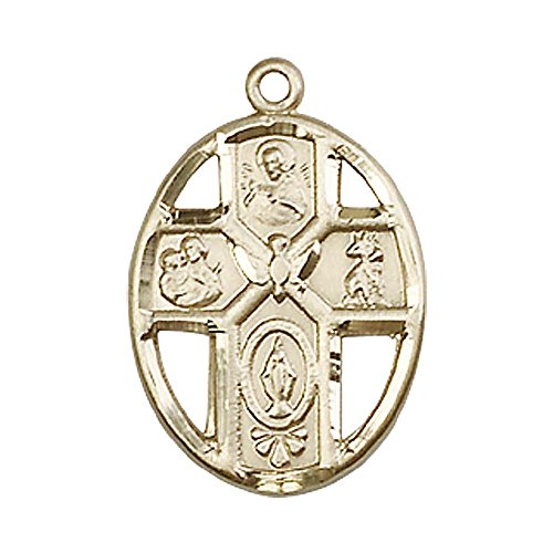 14kt Gold 5-Way / Holy Spirit Medal. Includes deluxe flip-top gift box. Medal/Pendant measures 3/4