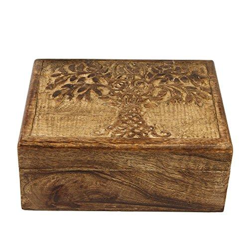 Icrafts Wooden Tree of Life Keepsake Trinket Jewelry Box Storage Organizer | Handmade |(8.5 x 6.5 in)