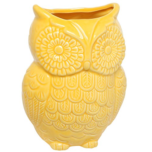 MyGift Yellow Owl Design Ceramic Cooking Utensil Holder/Multipurpose Kitchen Storage Crock