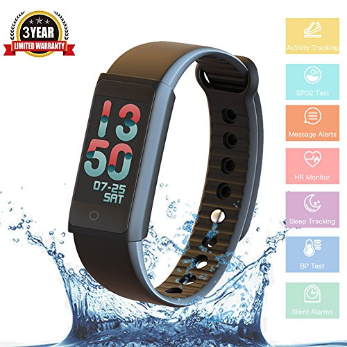 Fitness Tracker Watch Smart Band Bracelet Heart Rate Monitor Bluetooth WristBand Activity Trackers Pedometer Blood Pressure Waterproof Color Screen for Kids Women Men Android & iOS Smartphones Gift