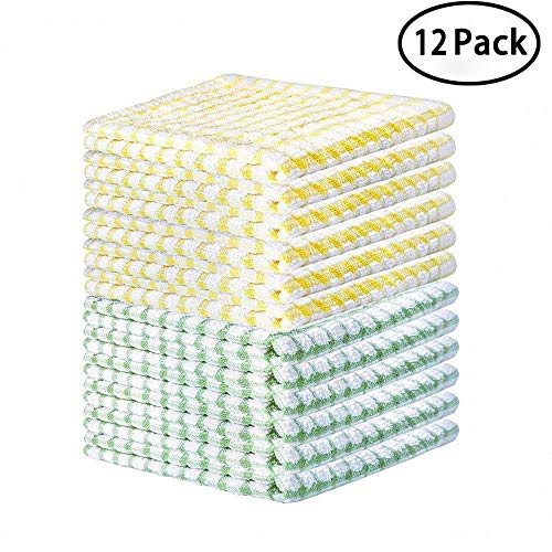FLY SPRAY Cotton Terry Windowpane Kitchen Dish Cloths, 10.6 x 10.6inch, Set of 12, Multi-Function Ultra Absorbent Grid Kitchen Bar Cleaning Towels (Green, Yellow) ()