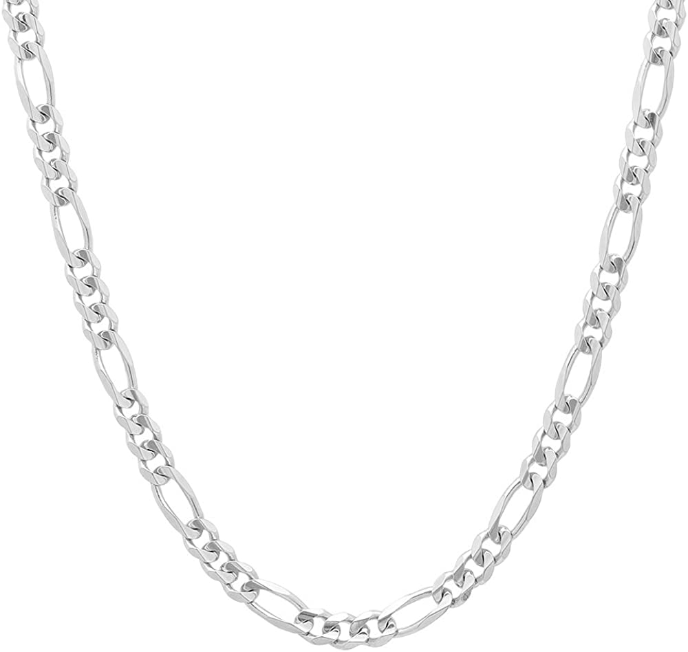 NYC Sterling Unisex 4MM Flat Light Solid Sterling Silver Figaro Chain Necklace, Made in Italy.