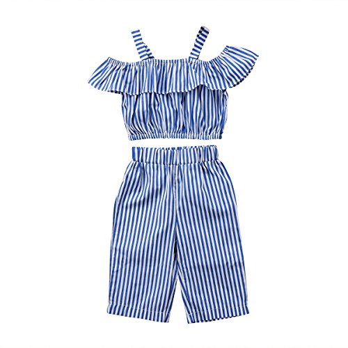 yannzi Toddler Kids Baby Girls Clothes Off Shoulder Top Shirts Striped Pants Outfits 1-6T (Striped, 1-2 Years) 80 by yannzi
