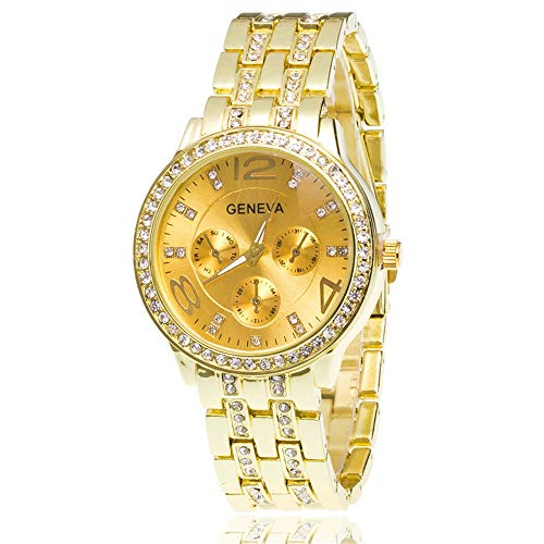 - Womens Geneva Alloy Band Quartz Watches Luxury Unisex Crystal Wrist Watch Gold Rose Gold Silver