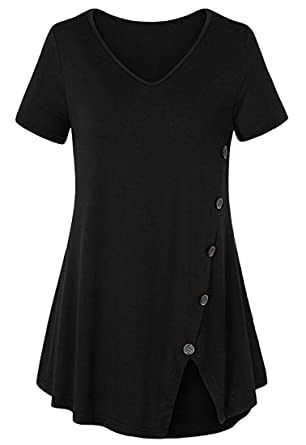 e02829610071f Image Unavailable. Image not available for. Color  Jaycargogo-1 Womens  Tunic Tops Casual Short Sleeve Button Side V Neck T-Shirt