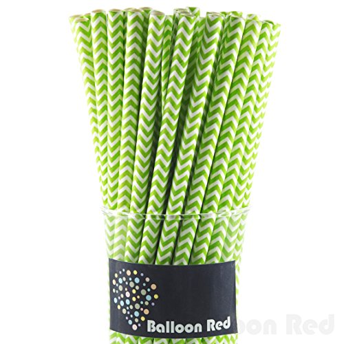 [Biodegradable Paper Drinking Straws (Premium Quality), Pack of 50, Chervon - Lime] (Homemade Kids Halloween Costumes Unique)