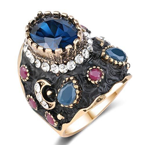 MARRLY.H Unique Big Black Enamel Ring Blue Crystal Gold Color Ethnic Antique Rings for Women Retro Bridal Vintage Fine Jewelry Blue 10 ()