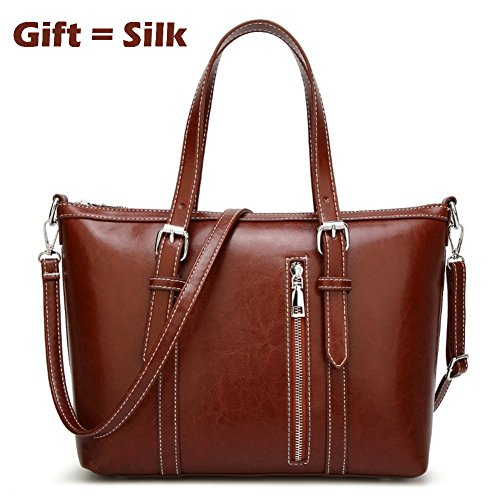 Women's Purses and Handbags Stylish Ladies Designer Satchel Top-handle Tote Shoulder Bags,QUEENTOO(A-Brown) by QUEENTOO