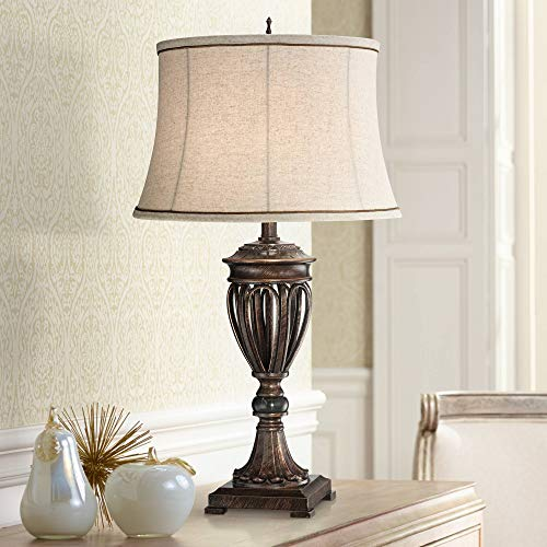 Traditional Table Lamp Bronze Open Urn Tan Drum Fabric Shade for Living Room Family Bedroom Bedside Nightstand Office - Regency Hill