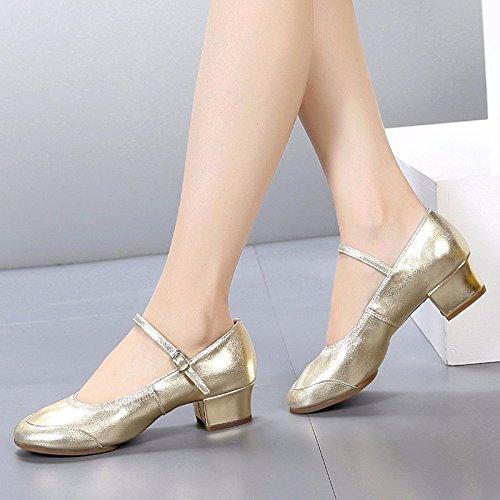 SQIAO-X- Scarpe da ballo fondo morbido, Kraft bassa testa rotonda a piazza Square Dance Dance Latina Professional scarpe da ballo, nero,36