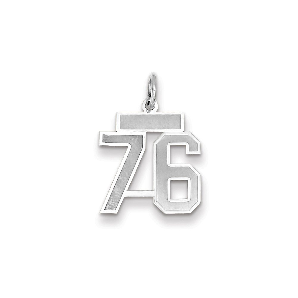 14k White Gold Small Satin Number 76 Charm