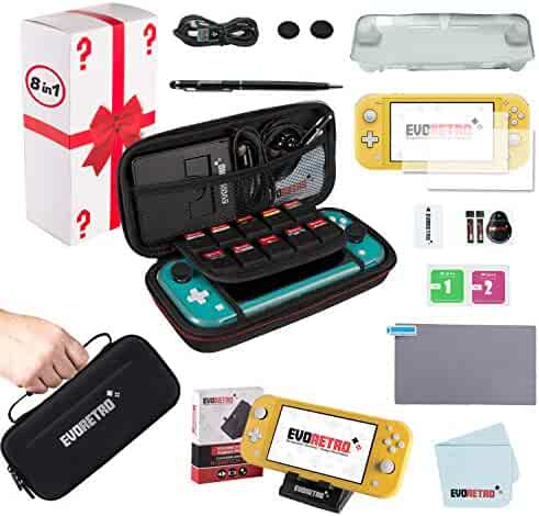 Complete Starter Kit for Nintendo Switch Lite with Tempered Glass Screen Protector, Travel Case, Foldable Stand, and more