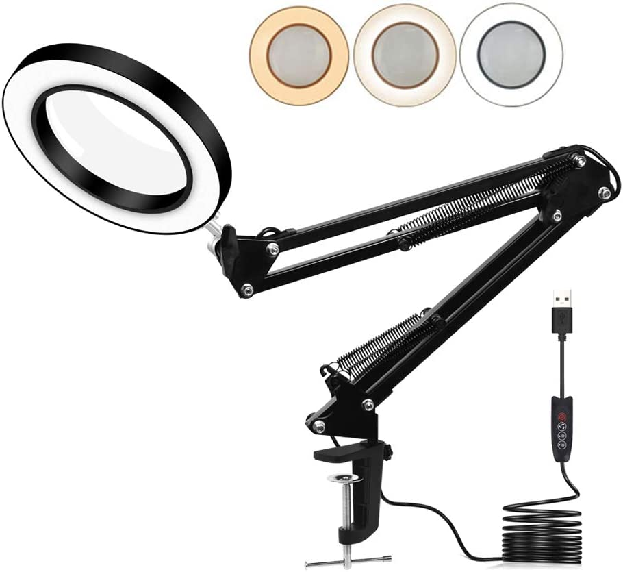 Toolour LED 5X Magnifying Glass Light Desk Lamp - 3 Light Colors Illuminated 10 Brightness Dimmable - USB Powered Magnifier Lighted Lens Adjustable Swivel Arm and Tabletop Clamp for Close Work Craft