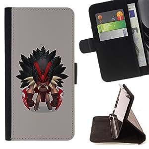 - Aztec Warrior - - Prima caja de la PU billetera de cuero con ranuras para tarjetas, efectivo desmontable correa para l Funny HouseFOR Samsung Galaxy S5 V SM-G900