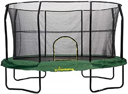 JumpKing Oval Trampoline with Solid Green Graphic Pad