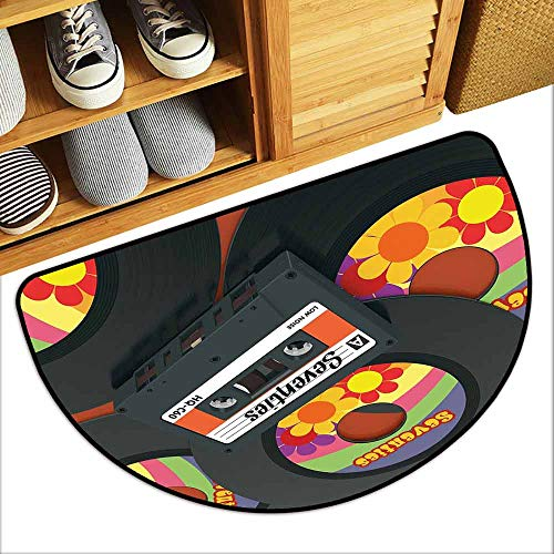 YOFUHOME 70s Party Decorations Waterproof Door mat Compact Cassette and Some Vinyl Records with Seventies Text Oldschool Easy to Clean W23 x L15 Multicolor
