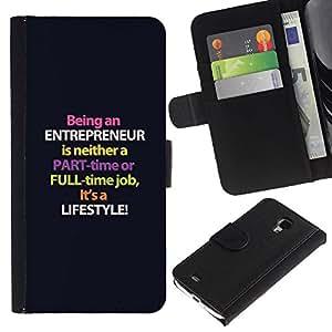 Caso Billetera de Cuero Titular de la tarjeta y la tarjeta de crédito de la bolsa Slot Carcasa Funda de Protección para Samsung Galaxy S4 Mini i9190 MINI VERSION! entrepreneur purple l