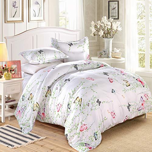 LAMEJOR Duvet Cover Set Twin Butterfly Pattern White Bedding Set Comforter Cover(1 Duvet Cover+2 Pillowcases)