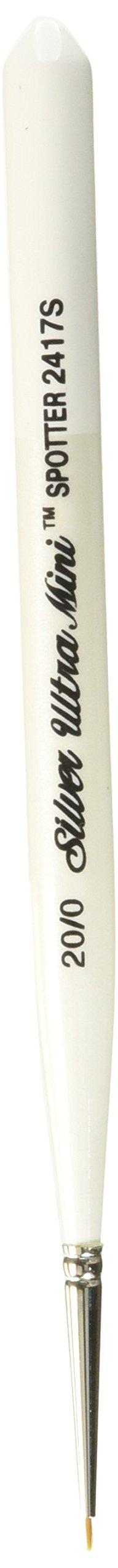 Silver Brush 2417S-20/0 Ultra Mini Short Handle Golden Taklon Brush, Spotter, Size 20/0 by Silver Brush Limited