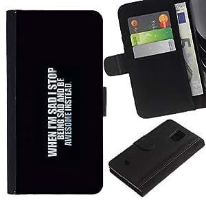 """Be-Star la tarjeta de Cr¨¦dito Slots PU Funda de cuero Monedero caso cubierta de piel Para Samsung Galaxy S5 Mini (Not S5), SM-G800 ( Triste Ser impresionante auto inspirado de la cita"""" )"""