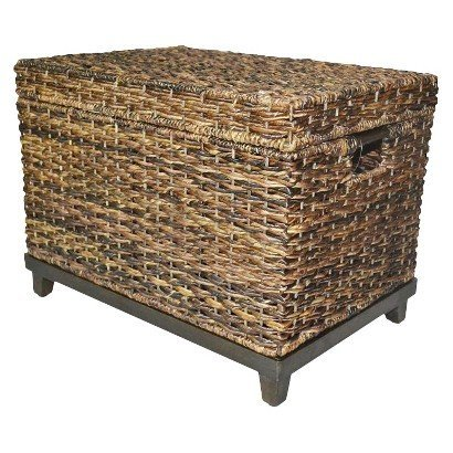 (Brown Wicker Storage Trunk / Coffee Table by Threshold)