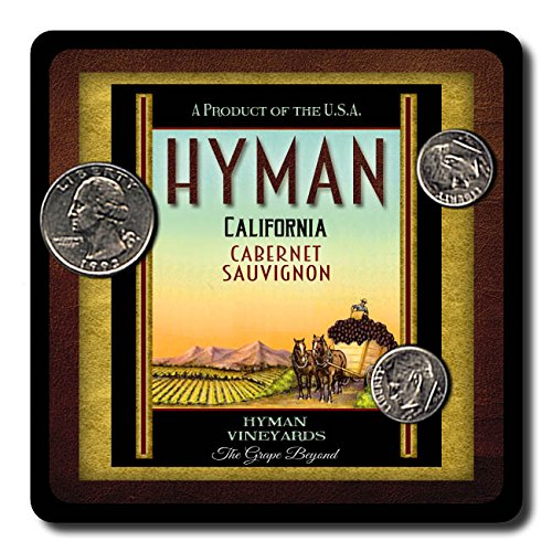 Hyman Family Vineyards Neoprene Rubber Wine Coasters - 4 Pack
