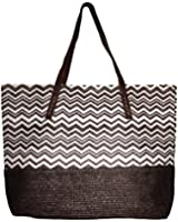 Large Chevron Print Straw Look Lined Beach Bag Tote