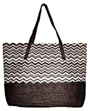 Large Chevron Print Straw Look Lined Beach Bag Tote (Brown)