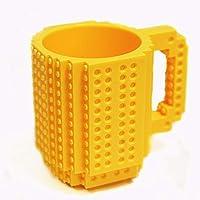 CoWalkers Taza de Bloques Armables,Build-On Ladrillo Taza de café Tipo de bricolaje Plástico Bloques de construcción creativos Café Té Bebida Bebida, Idea única de regalo de Navidad,Lego Tipo