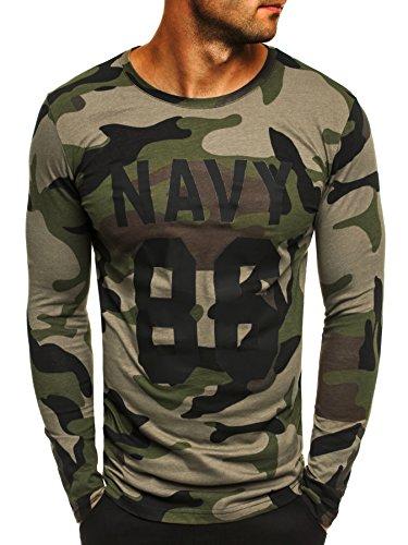 OZONEE Herren Longsleeve Sweatshirt Langarmshirt Camouflage Armee Militärstil ATHLETIC 1087 GRÜN S