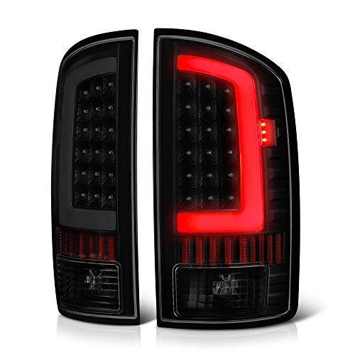 - VIPMOTOZ OLED Neon Tube Tail Light Lamp For 2002-2006 Dodge RAM 1500 2500 3500 - Matte Black Housing, Smoke Lens, Driver & Passenger Side